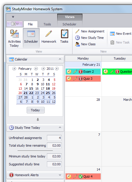 StudyMinder calendar view screenshot